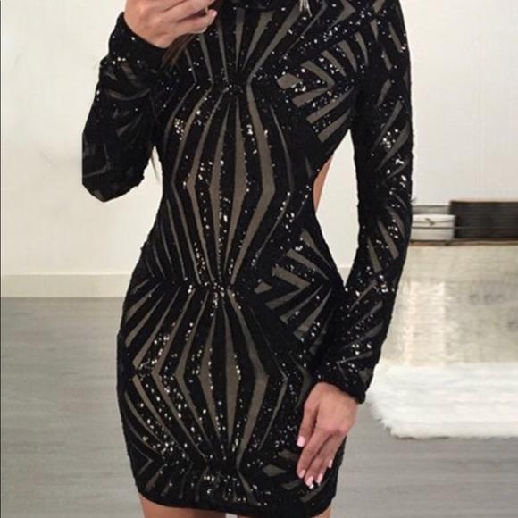 2be76024d7dd Dresses   Shinny Open Back Long Sleeve Bodycon Mini Dress   Poshmark